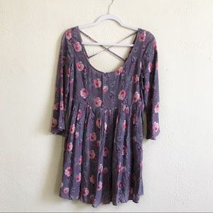 American Eagle Purple Floral Strappy Cutout Dress